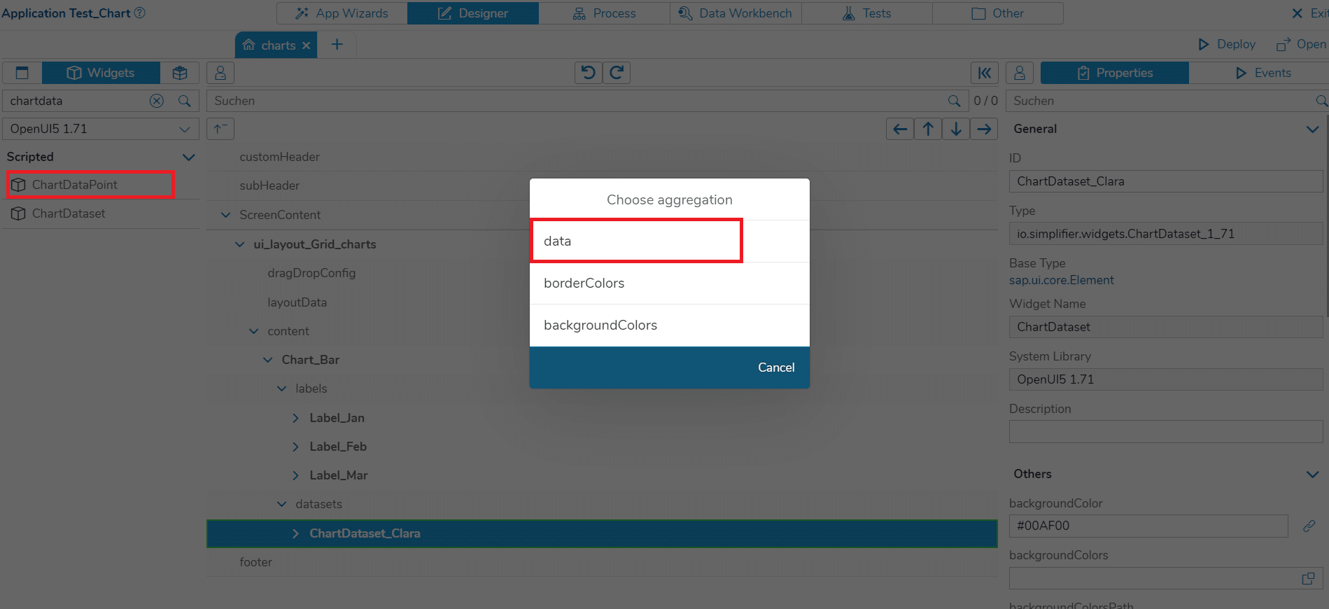 Choose 'data' as an aggregation in the dialog