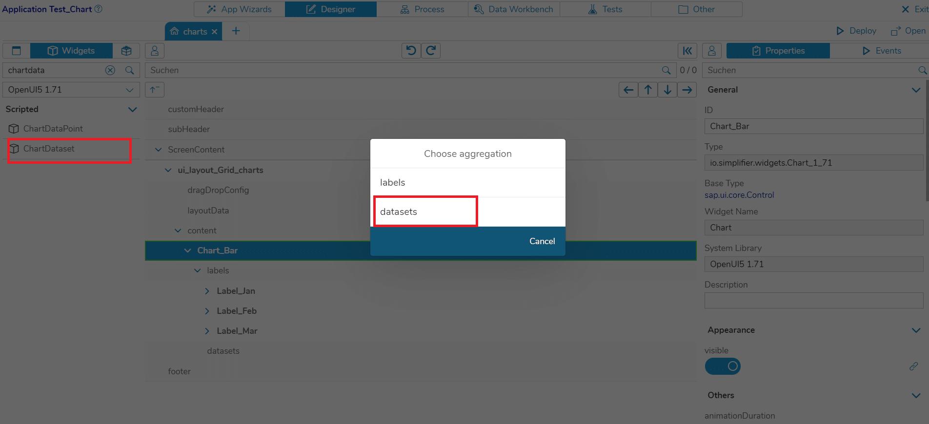 Select 'datasets' as aggregation