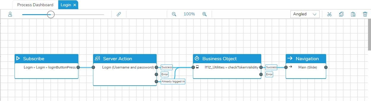 The login story in the process designer with the BO ITIZ_Utilities function checkTokenValidity